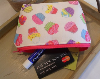 "SPECIAL of the DAY - Large Flat Bottom--Padded Zipper Pouch in ""Cupcakes Galore"""