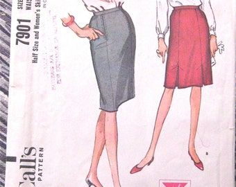 60s Skirt Pattern by McCall's 7901  Waist 34 inches