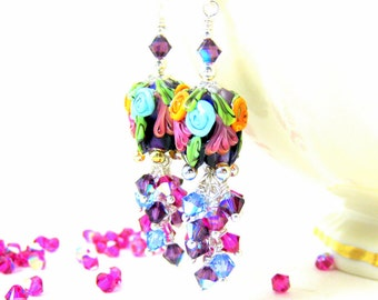 Purple Floral Earrings, Crystal Dangle Earrings, Lampwork Earrings, Nature Jewelry, Colorful Flower Earrings, Blue Purple Pink Plum Pretties