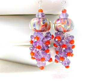 Amethyst Carnelian Earrings, Gemstone Dangle Earrings, Purple & Orange Earrings, Boro Lampwork Earrings, Funky Glass Earrings - Moon Rocks