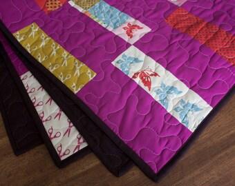 modern baby quilt // fuchsia wonderland quilt in bricks // READY TO SHIP