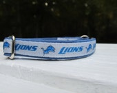 Detroit Lions Cat or Small Dog Collar with Option of Blue or Pink Backing