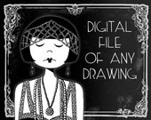 1920s flapper art // Digital file of any of my drawings