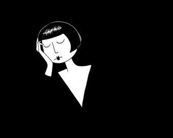 The thinker // black and white flapper art print