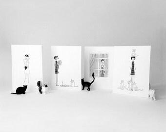 Cat lady card set // 6 feline kitty note cards