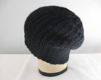 Black Slouchy. Hand Knit in Ink Black Baby Alpaca. Beanie or Watch Cap. Winter Accessories.