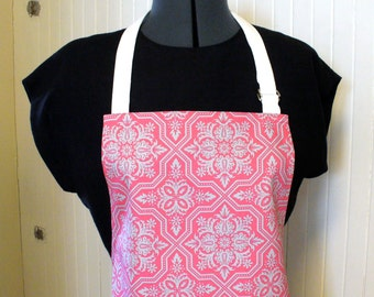Joel Dewberry Fabric Womens Apron Full Apron Chefs Apron Adjustable Apron Gray Raspberry Pink Tile Flourish Heirloom  Handmade MTO