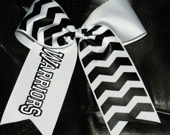 "Customizable- 3"" Texas Size Cheer bow - Chevron Mascot Flip - team discounts"