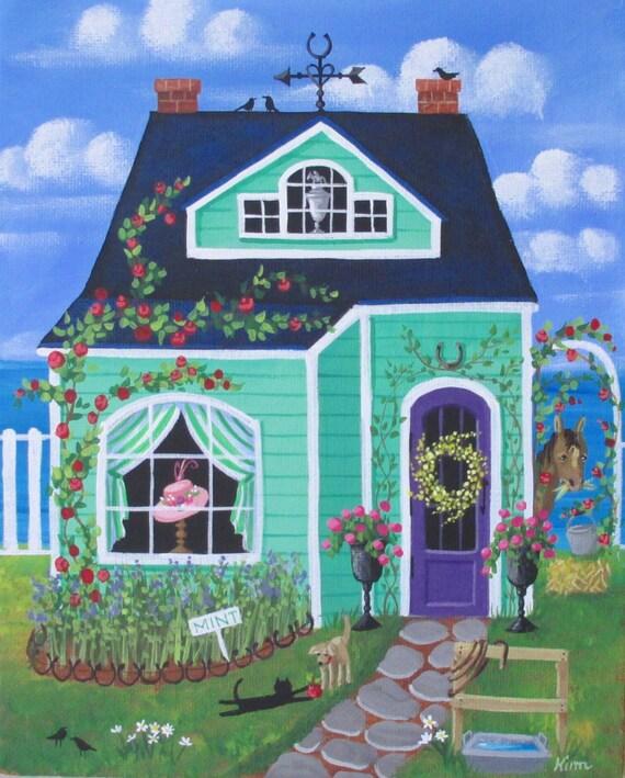 Derby Lane Cottage Folk Art Print