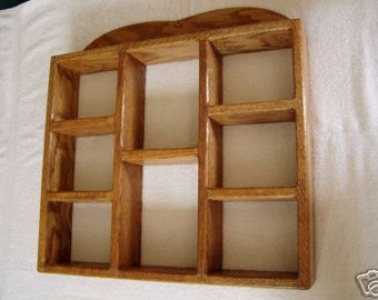 Shadow Box Wood Wall Shelf Reversible Wall Hanging Oak Shelf