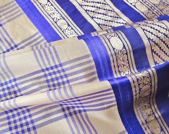 Vintage silk sari, VIOLET checks, gold zari weaving PURPLE, festival clothing, hippie fabric, boho decor, bohemian clothes