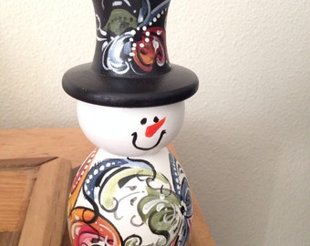 Norwegian rosemaled snowman candle holder