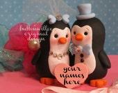Handmade Penguin Bride and Groom Cake Topper