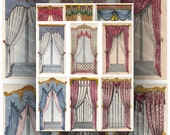Fancy Window Curtains, Large Images, Digital Collage Sheet , French Regency Draperies  ACEO Size Images, Backgrounds Printable Download