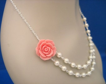Bridesmaid Jewelry Coral Rose and Pearl Double Strand Wedding Necklace