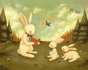 Art for Kids - The Bunny's Tale Print 14x11 - Nursery Art, Baby, Children's Art, Kids Decor, Bunny Rabbit, Cute, Kids Art , Book, Reading