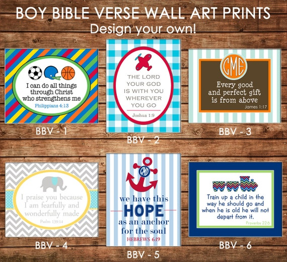 Boy 8x10 Wall Art Print with Bible Verse for Bedroom  Nursery  Bathroom Playroom - Design your own