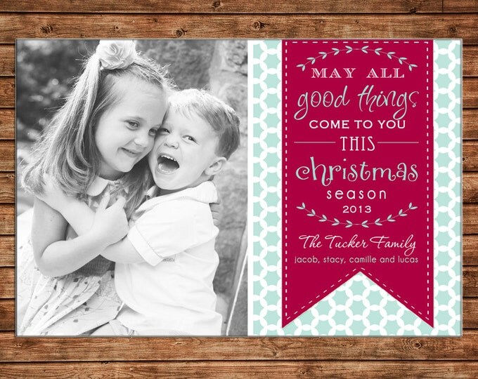Photo Picture Christmas Holiday Card typography wreath ribbon pennant bunting quatrefoil modern preppy print - Digital File