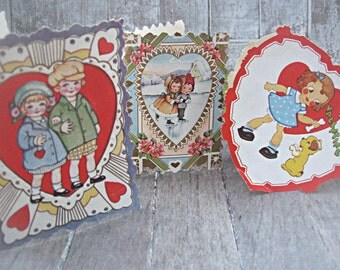 Set of 3 vintage valentine cards, 1940's valentines, altered art or mixed media supply, Valentines gift, retro valentines, sweethearts gift