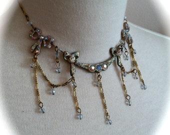 Cinderella Blue AB Crystal Victorian Princess Necklace