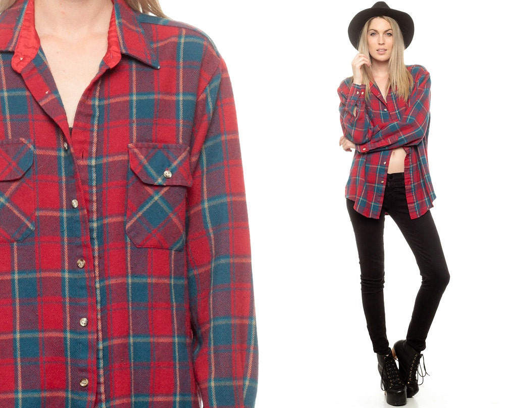 Red Flannel Shirt 90s Plaid Shirt Blue Button Up Top By