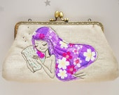 Good dreaming Clutch Bag Free Motion Embroidery(Cosmetic Case, Makeup Pouch, Travel Bag, Bag Belt)