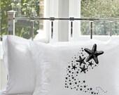 Shooting STARFISH sea stars pillow case deep sea tales Ocean black Beach fish unique decor art black white retro sailor Nautical Pillowcase