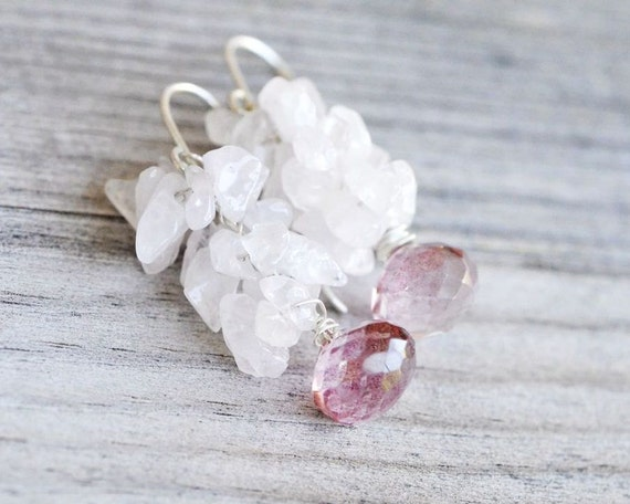 Mystic Pink Quartz Sterling Silver earrings, Wire Wrapped -  Rose Quartz Chips, mystic pink quartz faceted onion briolette