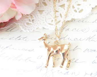 Gold Plated Deer Necklace - Deer Charm - Animal Necklace - Nature - Woodland - Forest Friend