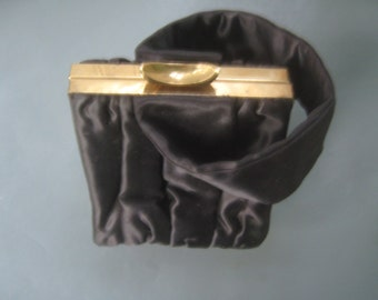 Vintage Purse Black Satin Ruched Garay