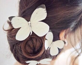 Hand cut silk butterfly ivory hair clips  - Bridal/Wedding Trio with Swarovski Crystals