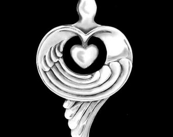 Gratitude Pendant / Necklace, Heart and Wings, Symbolic Jewelry - Sacred Symbols Collection