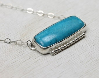 Handmade Turquoise Necklace in Silver, framed with stepped art deco silver accents