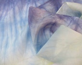 hand dyed silk scarf in pale lavender purple, blue, and gold (#2) 11in x 60in