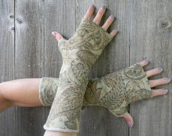 Upcycled Women Wool Arm Warmers Fingerless Gloves Wrist Warmers Green/ Brown Paisley Pattern One Size Fits All