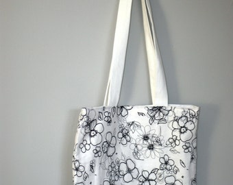 Black and White Floral Lined Fabric Medium Tote - Modern Boho Chic - Neutral Classic Stylish Tote - Book Bag - Beach Bag - Market Tote