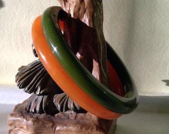 Vintage TRUE Bakelite Bracelets Bangles Green and Orange Autumn Hues at A Vintage Revolution