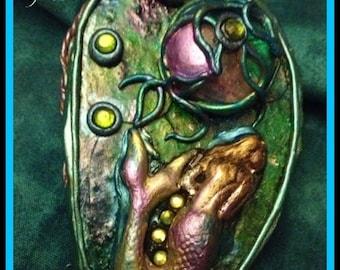 Mermaid Goddess/ Necklace/ Pendant/ Agate Druzy/Enhanced Verdigris Copper/ Crescent Moon/ Mermaid Portal/Filigree/ Collectible Art/Vintage/