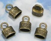 BuLK 30 Celtic Heart Bronze End Caps Oval Kumihimo Cord Glue In Tube Antique Tone (P1489 -30)