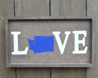 Washington State Love Wood Sign (Made to Order)