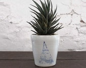 Modern Ceramic Planter with Handpainted Triangle
