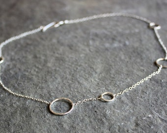 delicate hammered silver circle chain necklace