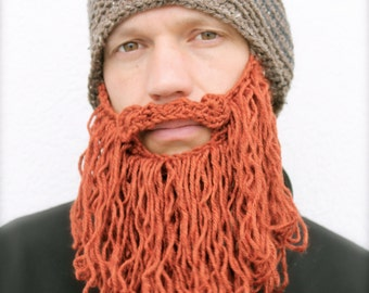 long beard hat, mens crochet beard hat, The Original Beard Beanie™ shaggy - brown tweed stripe w/red beard, beard beanie hat, knit beard hat