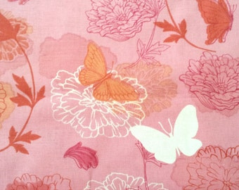Pink Butterfly Fabric and Flower Fabric by the yard or fabric by the half yard, or fat quarter, Quilt Fabric, Apparel Fabric, HL1