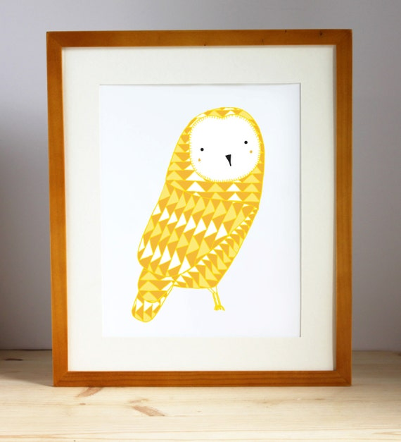 September Owl Print, Yellow Owl Print, Geometric Owl Print, Owl Nursery Art, Bird Nursery Art, Kid Artwork, Gingiber Print