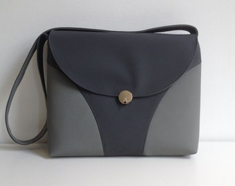 Shoulder/Laptop Bag in Gray and Charcoal Vinyl, Vinyl Purse in Gray, Laptop Bag in Gray Vinyl - FREE US SHIPPING