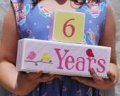 DELUXE DESIGN . Children's Age Blocks. Photo Cubes. Photography prop . Number blocks . Grow Up Blocks