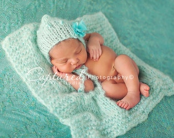 Aqua Mohair Bonnet Blanket Set Baby Girl Newborn Hand Knit Mint Boy Photo Prop Pixie Turquoise Going Home Outfit Teal Infant Coming Hat