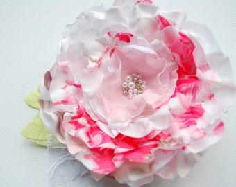 white pink bridal hair clip, weddings accessories, satin silk flower, bridal hair flower, bridesmaids headpiece, fascinator, corsage, sash