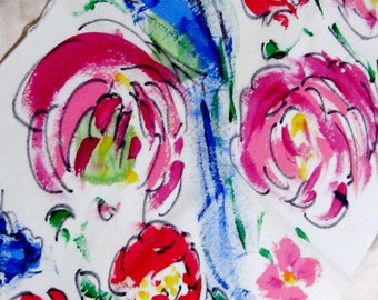 Fabric Textile Hand Painted Roses Abstract Floral Pink Red Blue